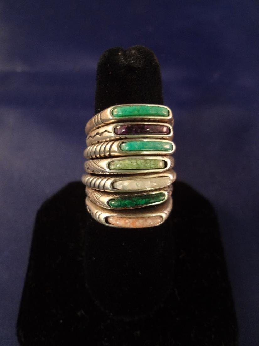 (7) Carolyn Pollack Relios Sterling Silver Inlay Stone