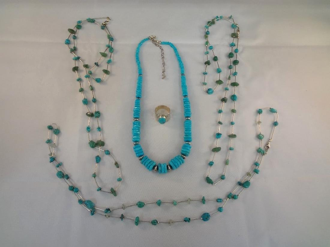 Southwest Sterling Silver And Turquoise Group: (4)
