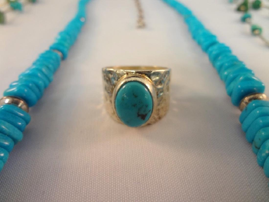 Southwest Sterling Silver And Turquoise Group: (4) - 3