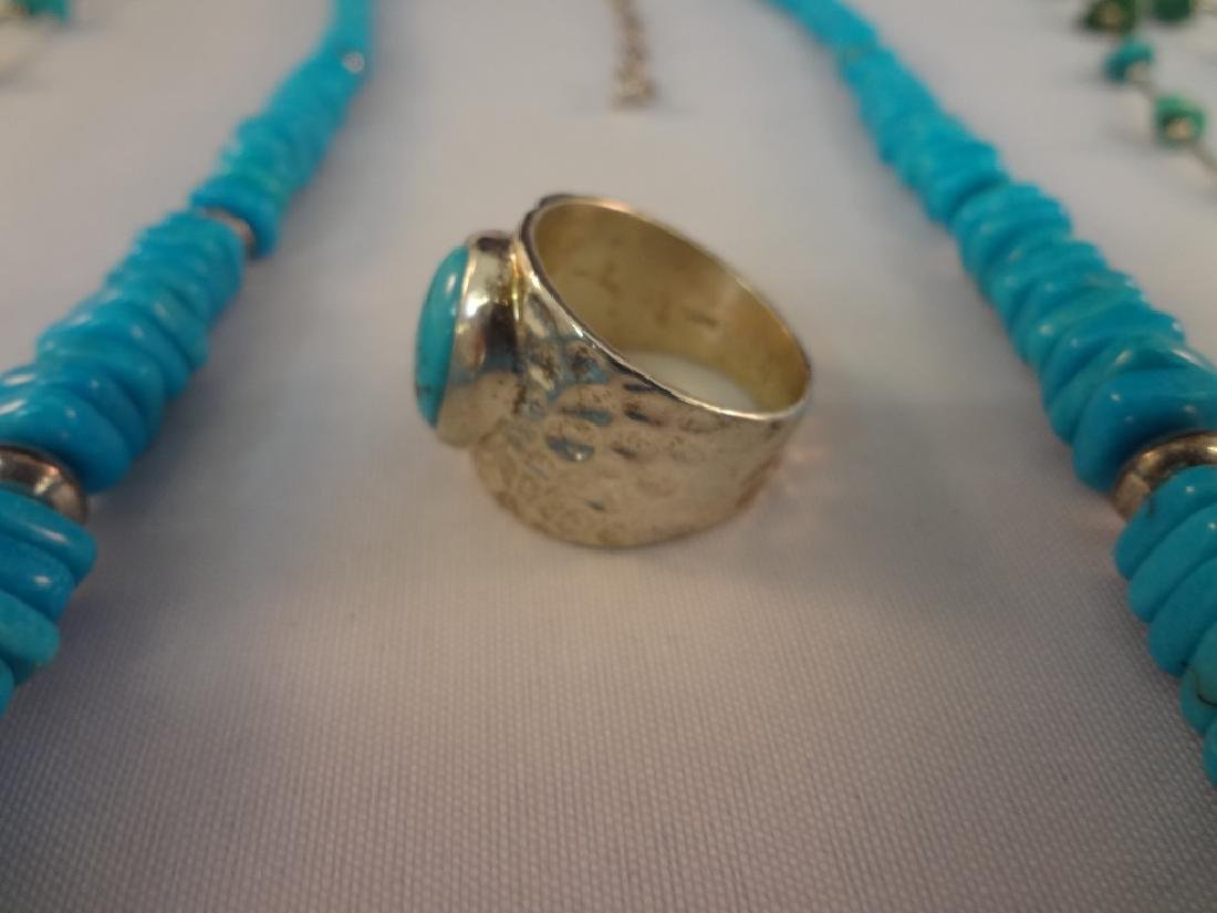 Southwest Sterling Silver And Turquoise Group: (4) - 4