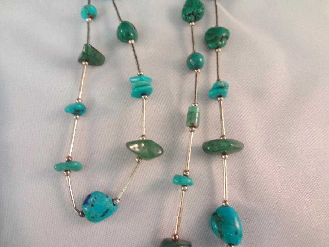 Southwest Sterling Silver And Turquoise Group: (4) - 5