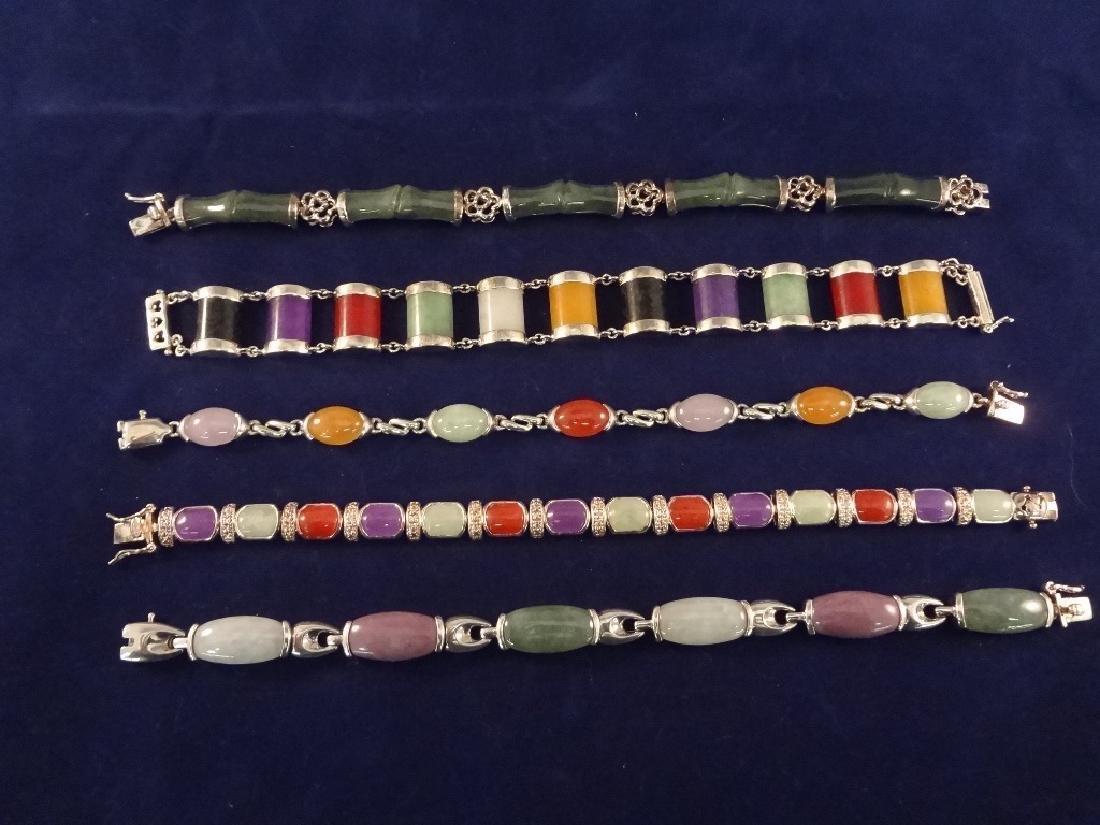 (5) Sterling Silver and Multi Color Jade Bracelets