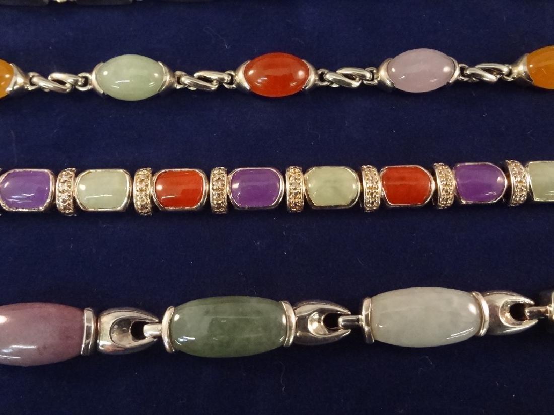 (5) Sterling Silver and Multi Color Jade Bracelets - 2