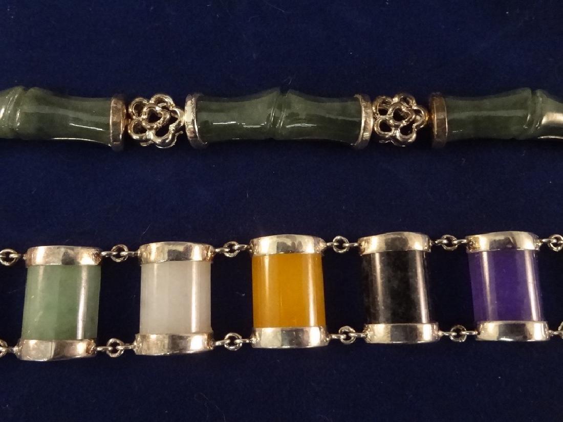 (5) Sterling Silver and Multi Color Jade Bracelets - 3
