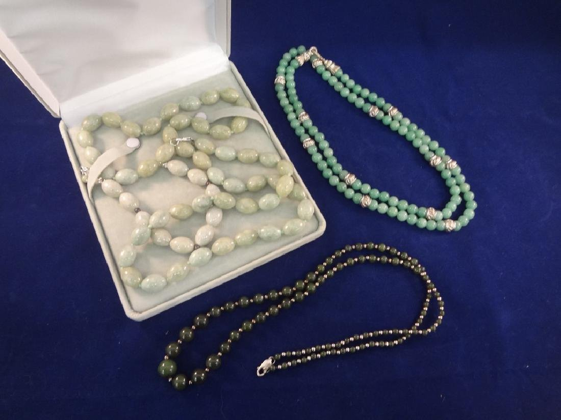 (3) Sterling Silver and Jade Necklaces