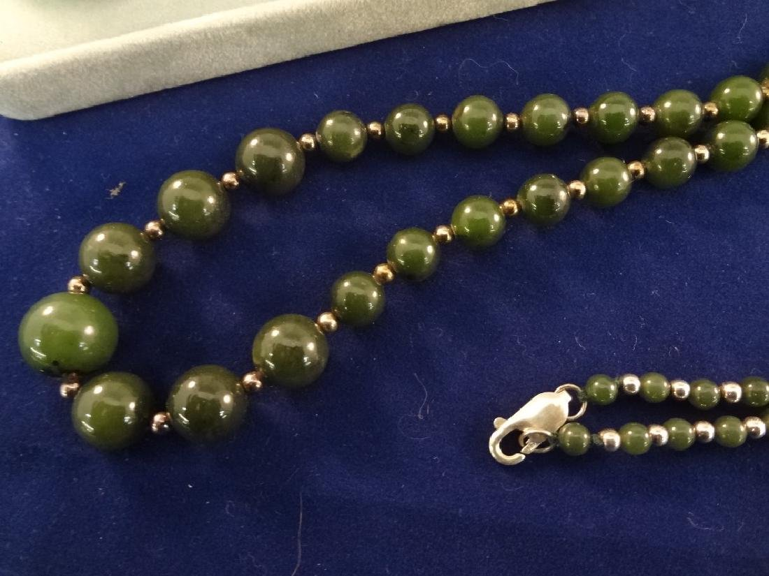 (3) Sterling Silver and Jade Necklaces - 2