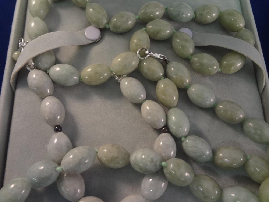 (3) Sterling Silver and Jade Necklaces - 3