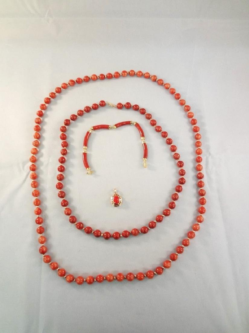 14K Gold Red Jade Jewelry: (2) Necklaces, Bracelet,