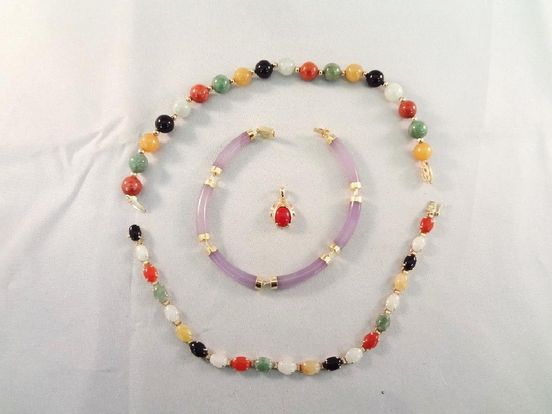 14K Gold and Multi Color Jade Jewelry: (3) Bracelets,