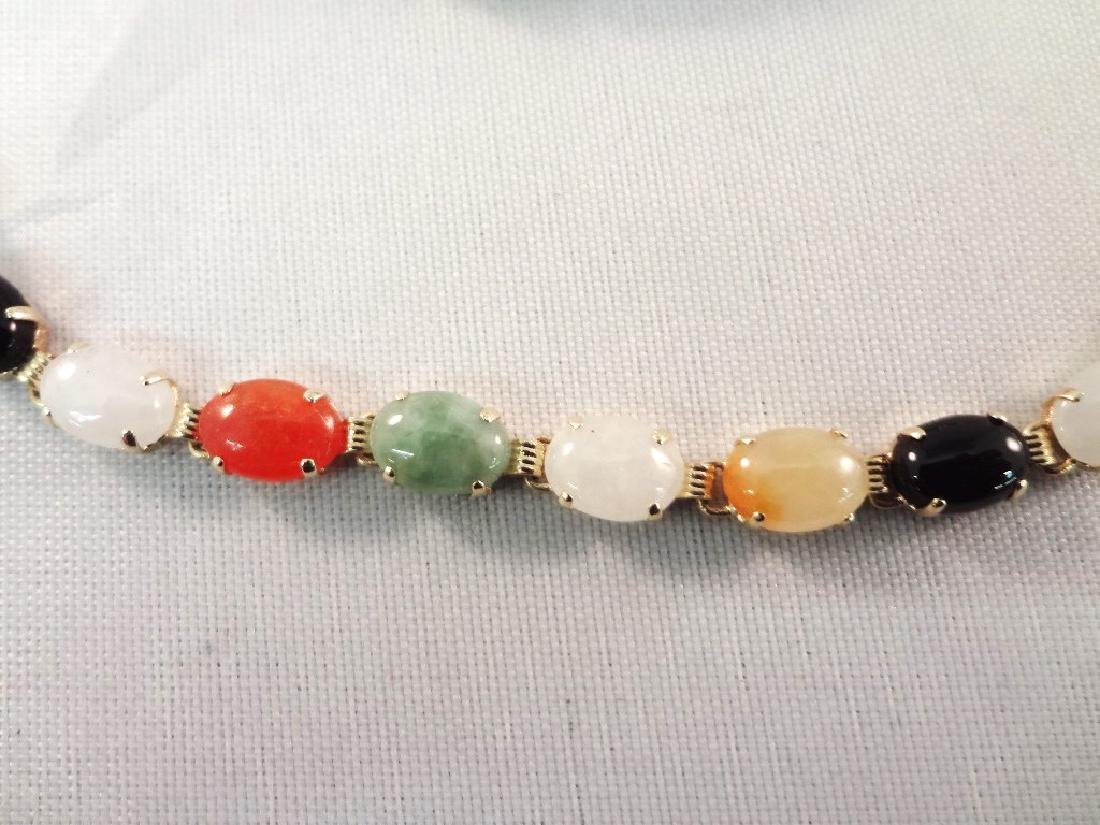 14K Gold and Multi Color Jade Jewelry: (3) Bracelets, - 2