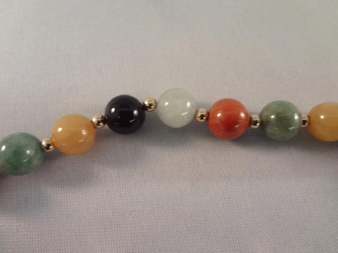 14K Gold and Multi Color Jade Jewelry: (3) Bracelets, - 5