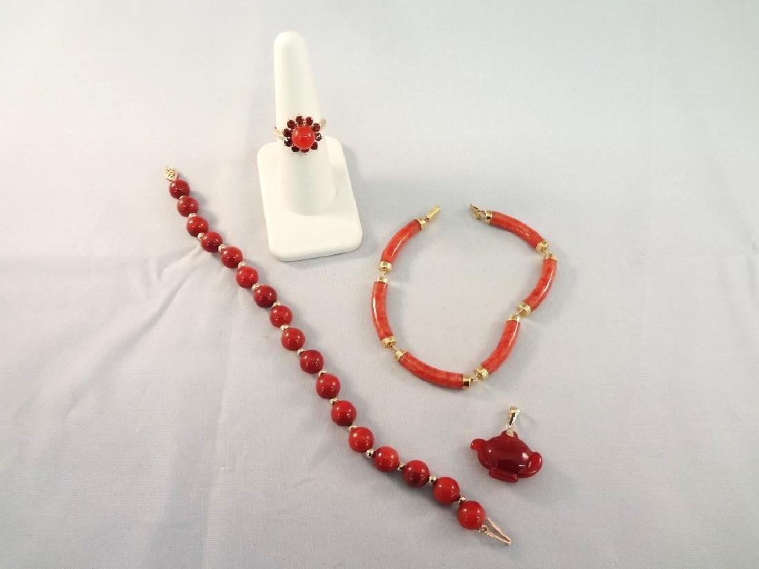 14K Gold Red Coral Jade Ring, Pendant, (2) Bracelets