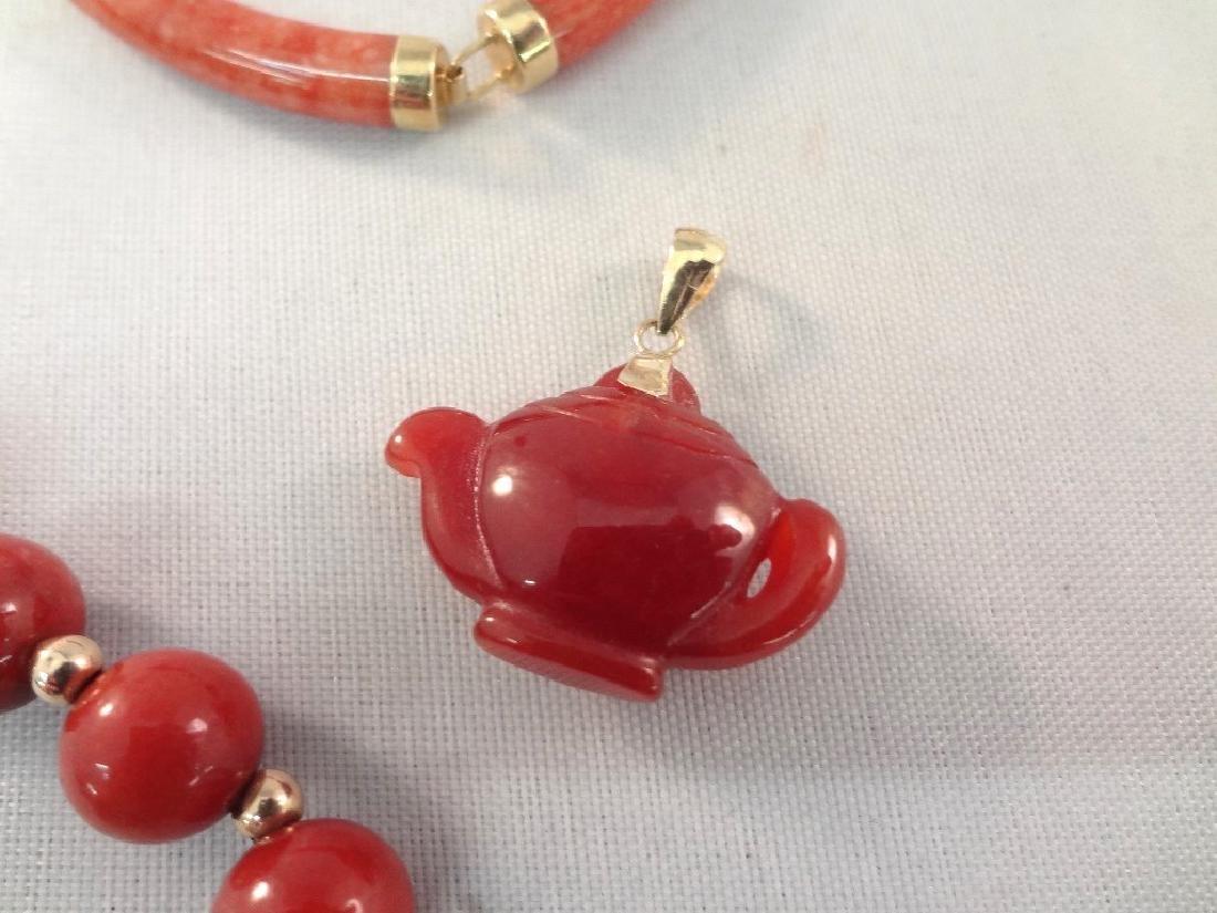 14K Gold Red Coral Jade Ring, Pendant, (2) Bracelets - 2