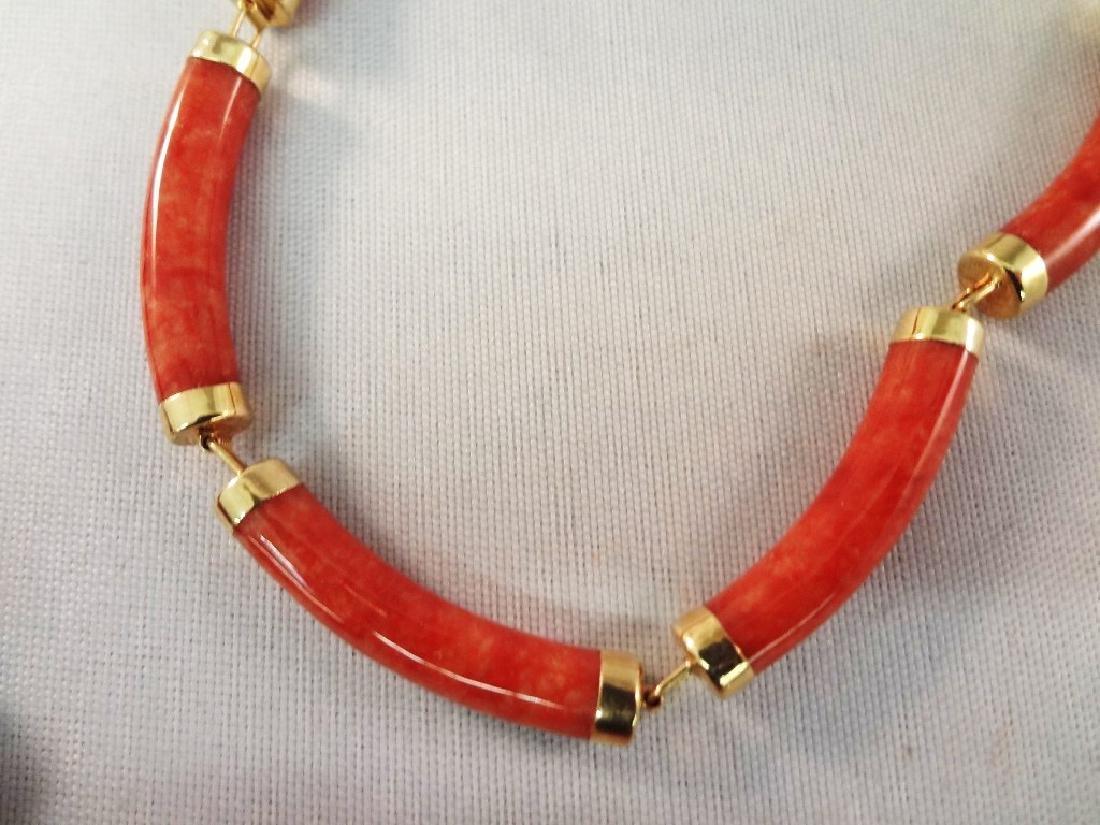 14K Gold Red Coral Jade Ring, Pendant, (2) Bracelets - 3
