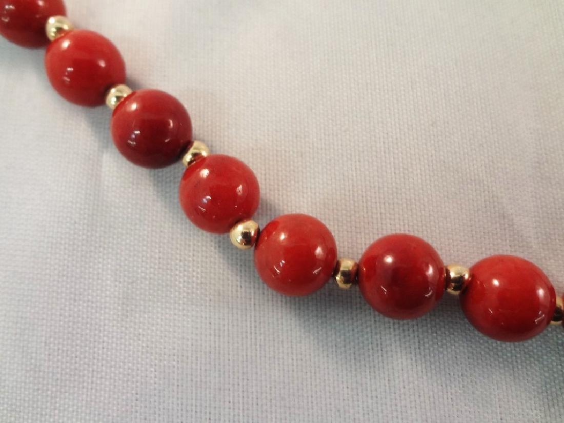 14K Gold Red Coral Jade Ring, Pendant, (2) Bracelets - 4