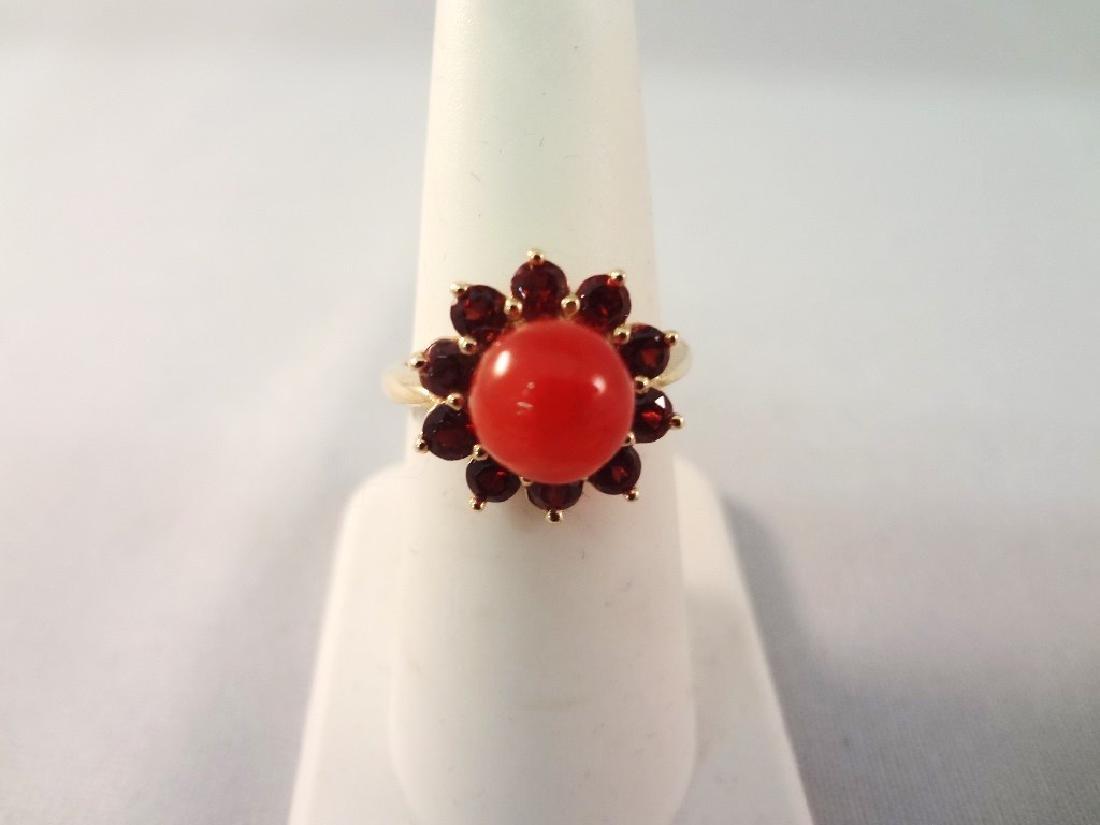 14K Gold Red Coral Jade Ring, Pendant, (2) Bracelets - 5