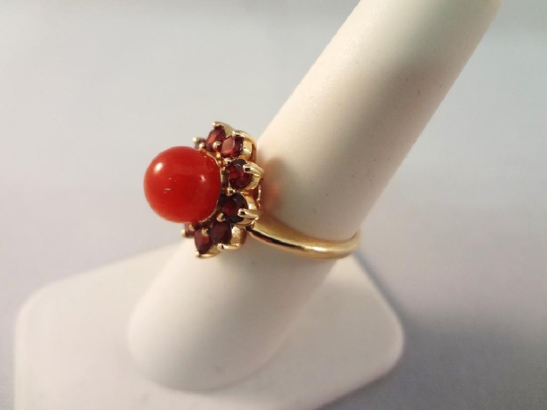 14K Gold Red Coral Jade Ring, Pendant, (2) Bracelets - 6