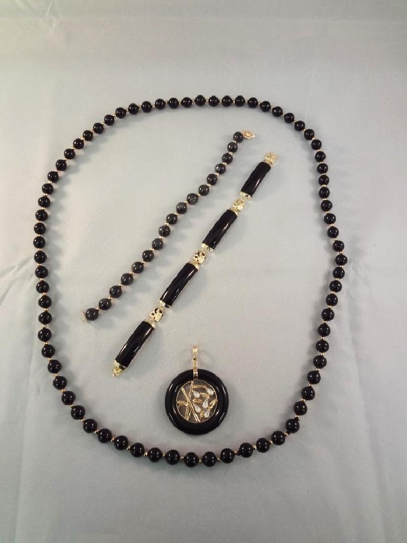 14K Gold Black Jade Jewelry Group: Necklace, Pendant,