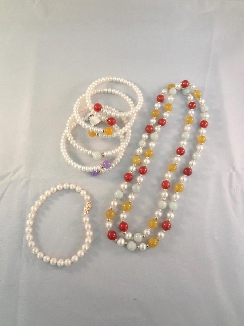 14K Gold and Multi Color Jade Bracelets and Necklace