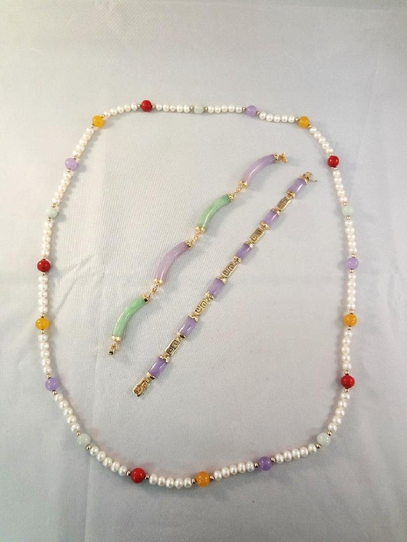 14K Gold and Lavender Jade Jewelry Group: (2)