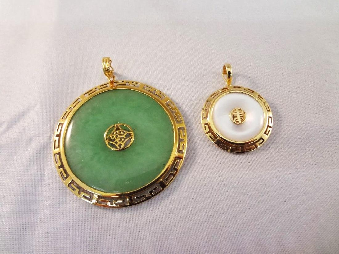 (2) 14k Gold Wrapped Jade Pendants: Dark Green and