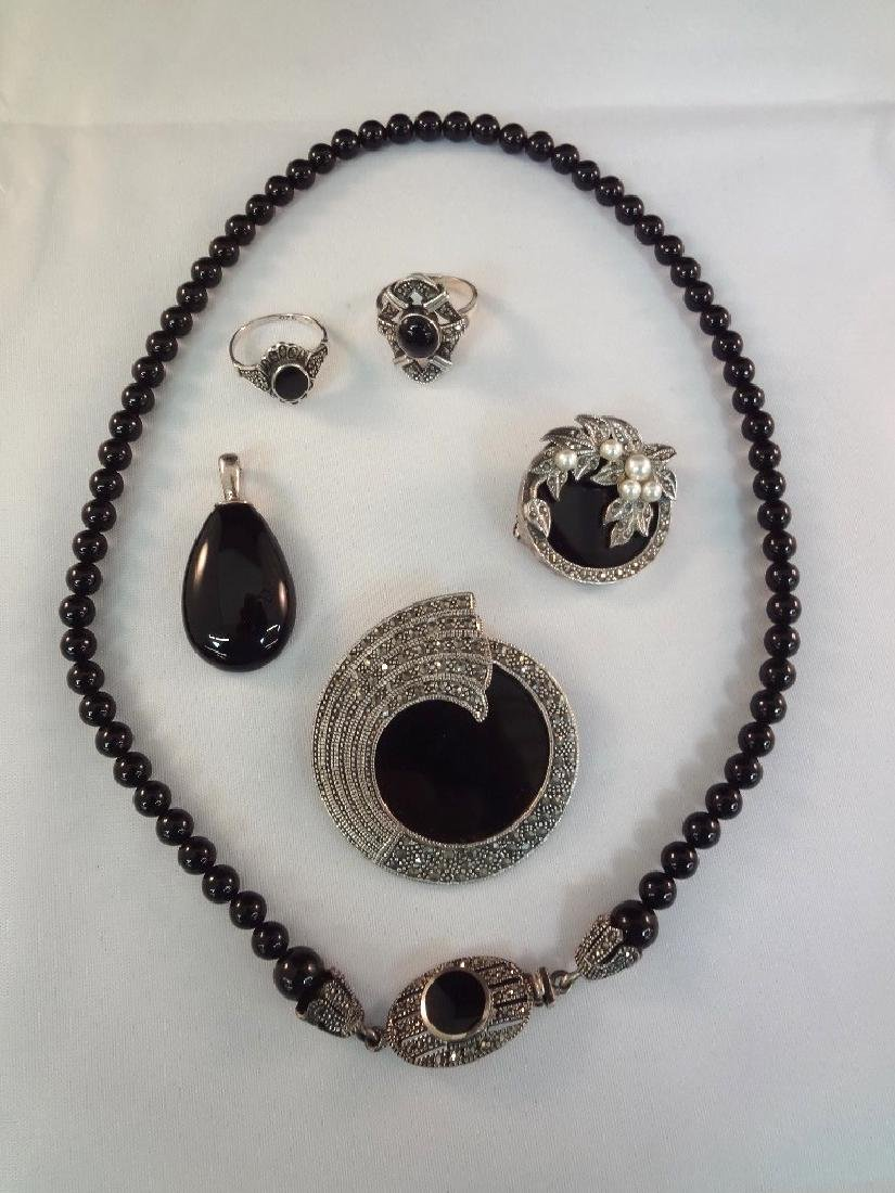 Sterling Silver Art Deco Onyx Jewelry Suite