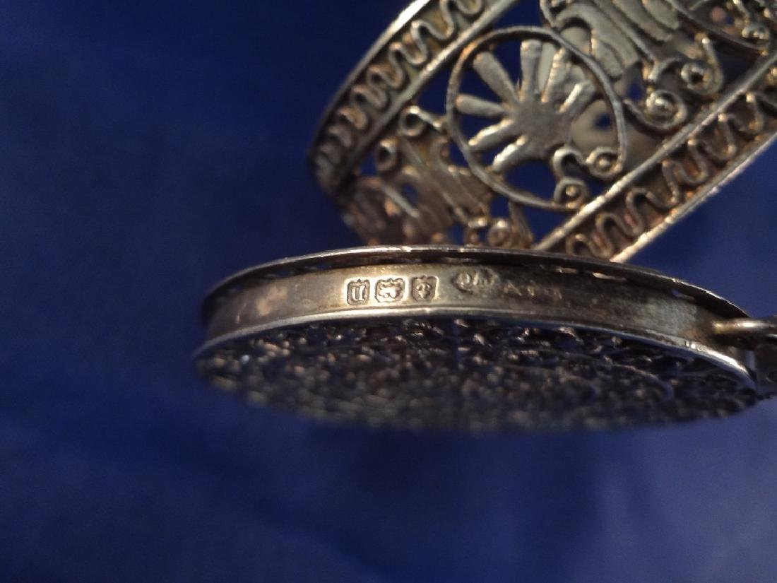 (3) Sterling Silver Signed Pieces: Cuff Bracelet, - 6