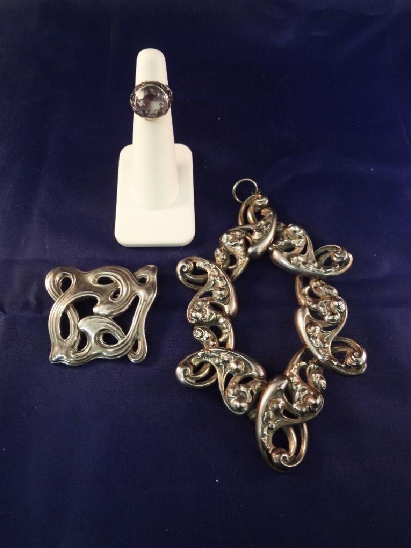 Sterling Silver Art Deco Jewelry: Ring, Massive