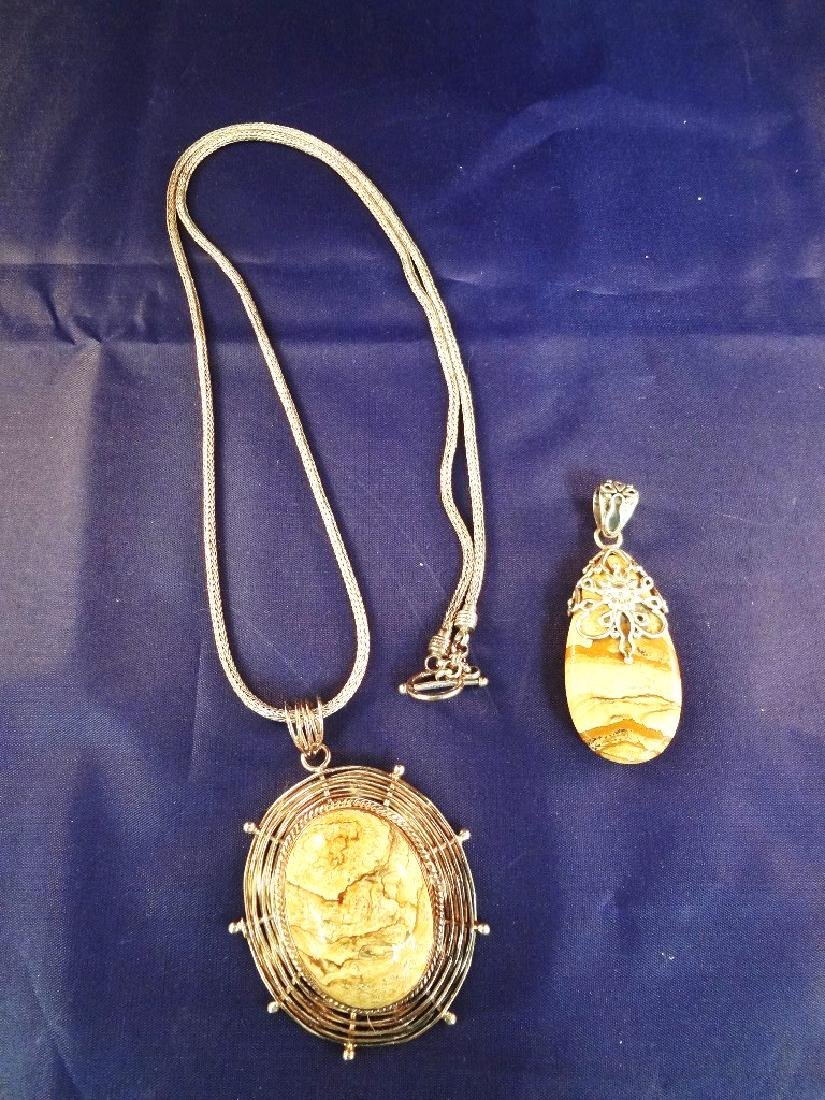 Sterling Silver Indonesia (2) Pendant, Necklace Set