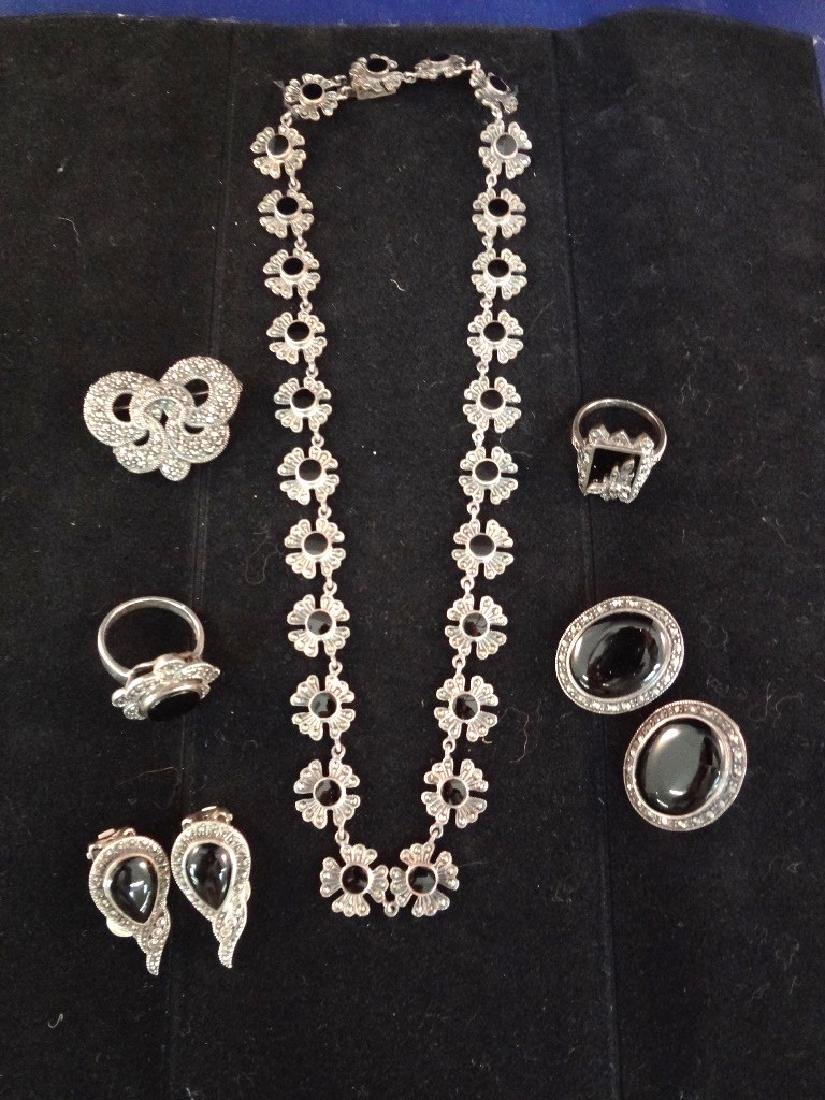 Art Deco Sterling Silver Jewelry Suite: Brooch, Rings,