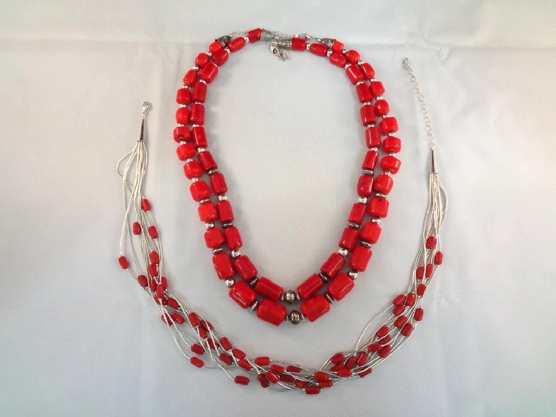 Southwest Sterling Silver and Red Stone Jewelry Group: