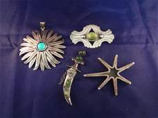 Mexican Taxco Sterling Silver Brooches (4)