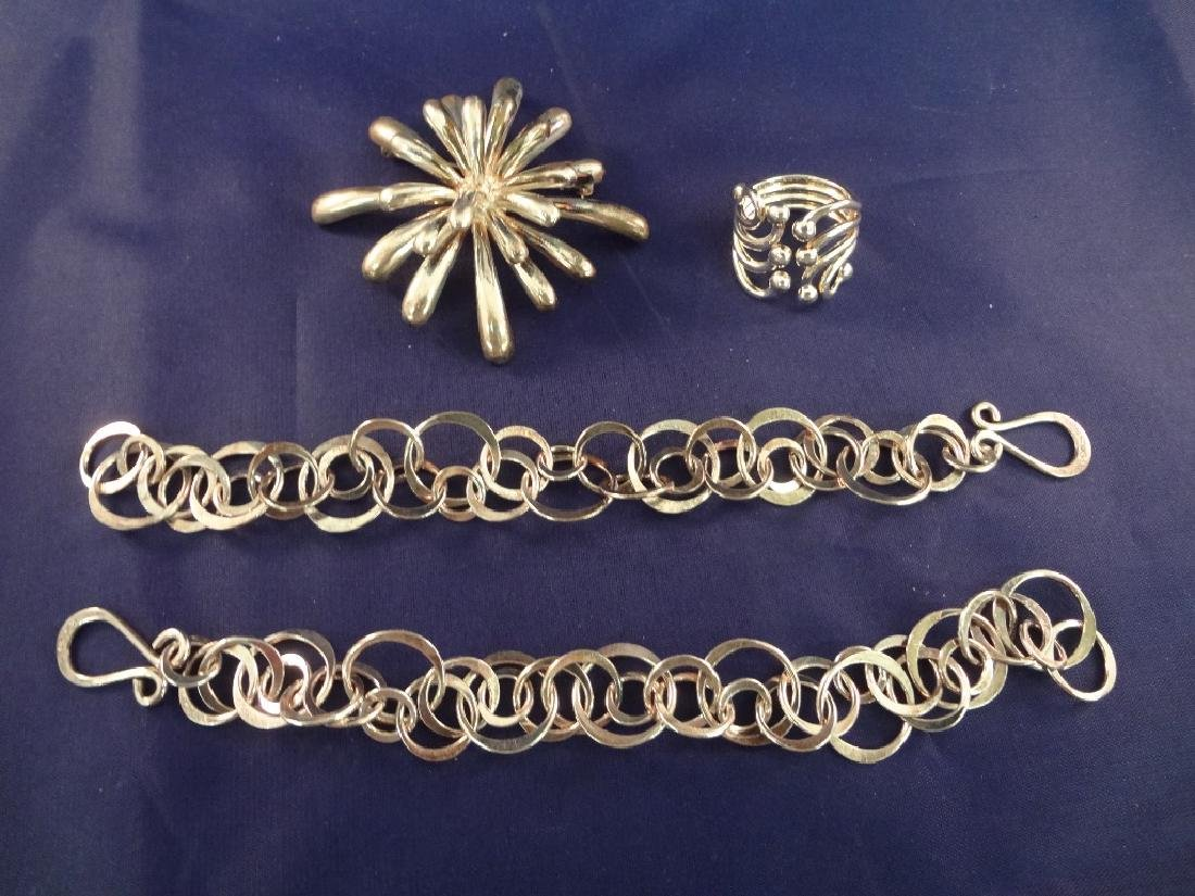 Sterling Silver Group: Brooch, Ring and 2 Bracelets