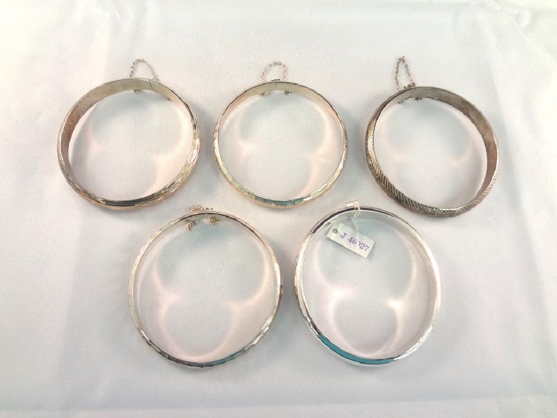 (5) Sterling Silver Bangle Bracelets