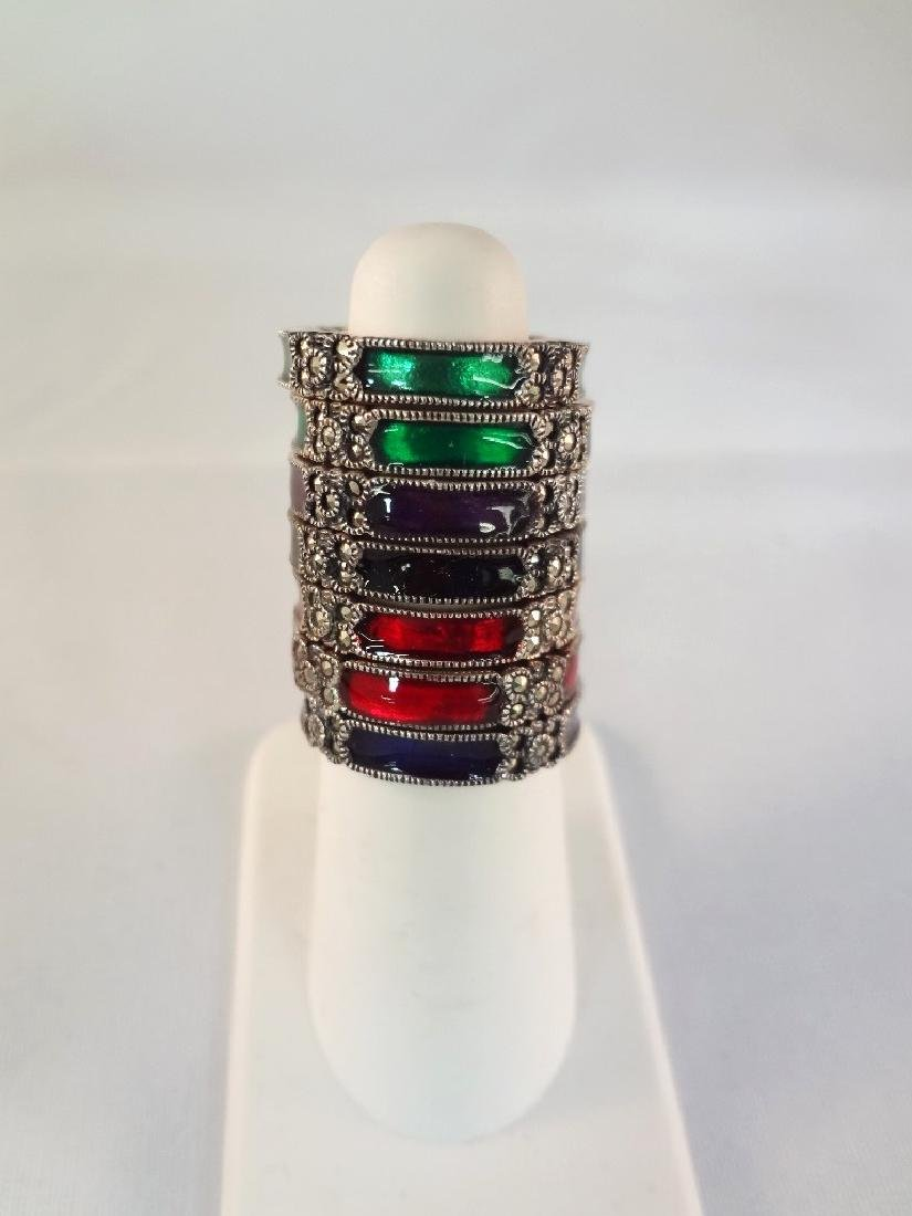 (7) Sterling Silver and Enamel Rings