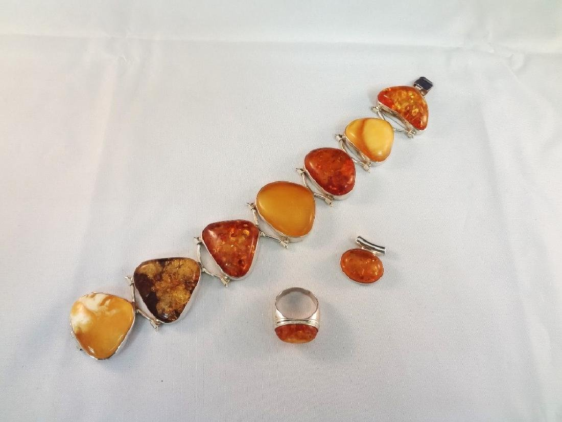 Sterling Silver and Amber Cabochon Jewelry Suite