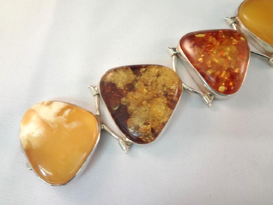 Sterling Silver and Amber Cabochon Jewelry Suite - 2