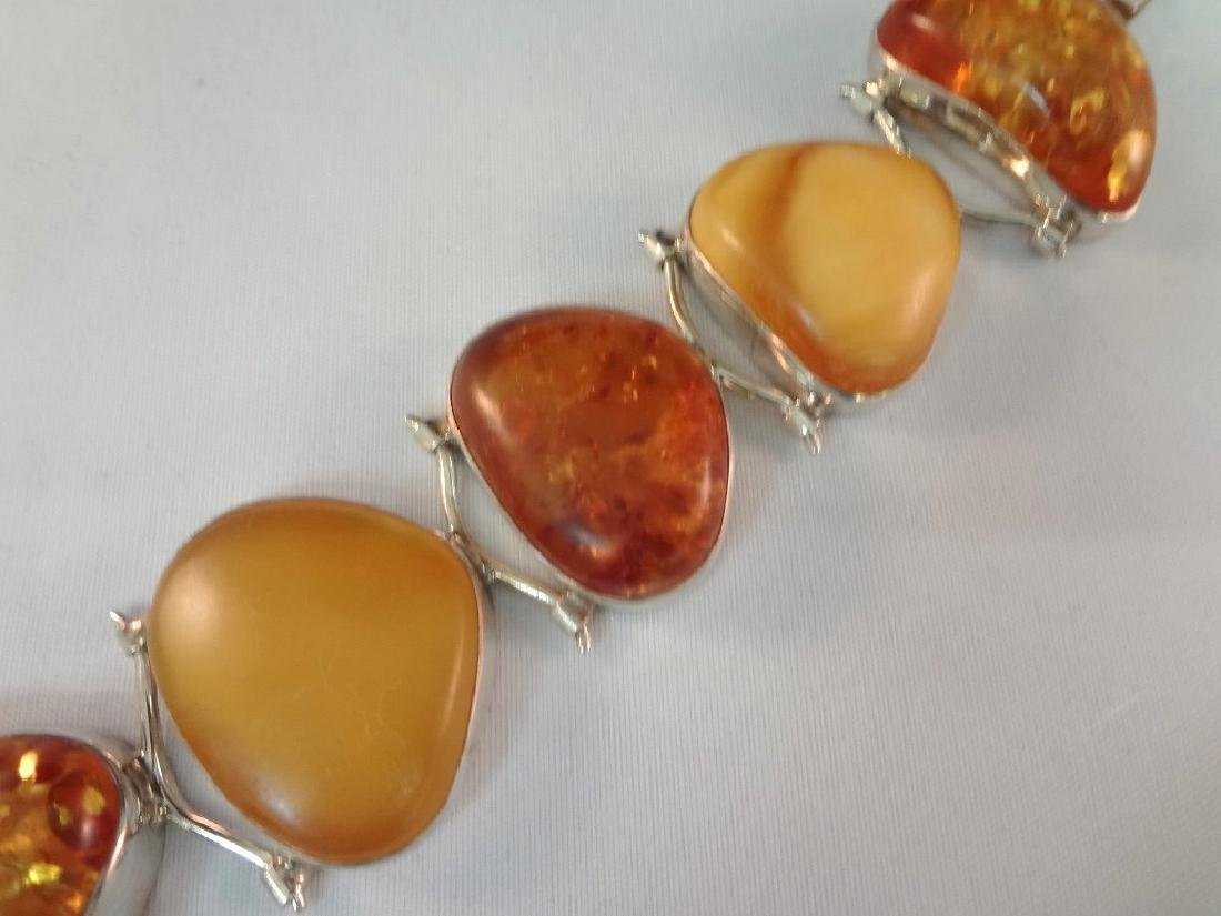 Sterling Silver and Amber Cabochon Jewelry Suite - 3
