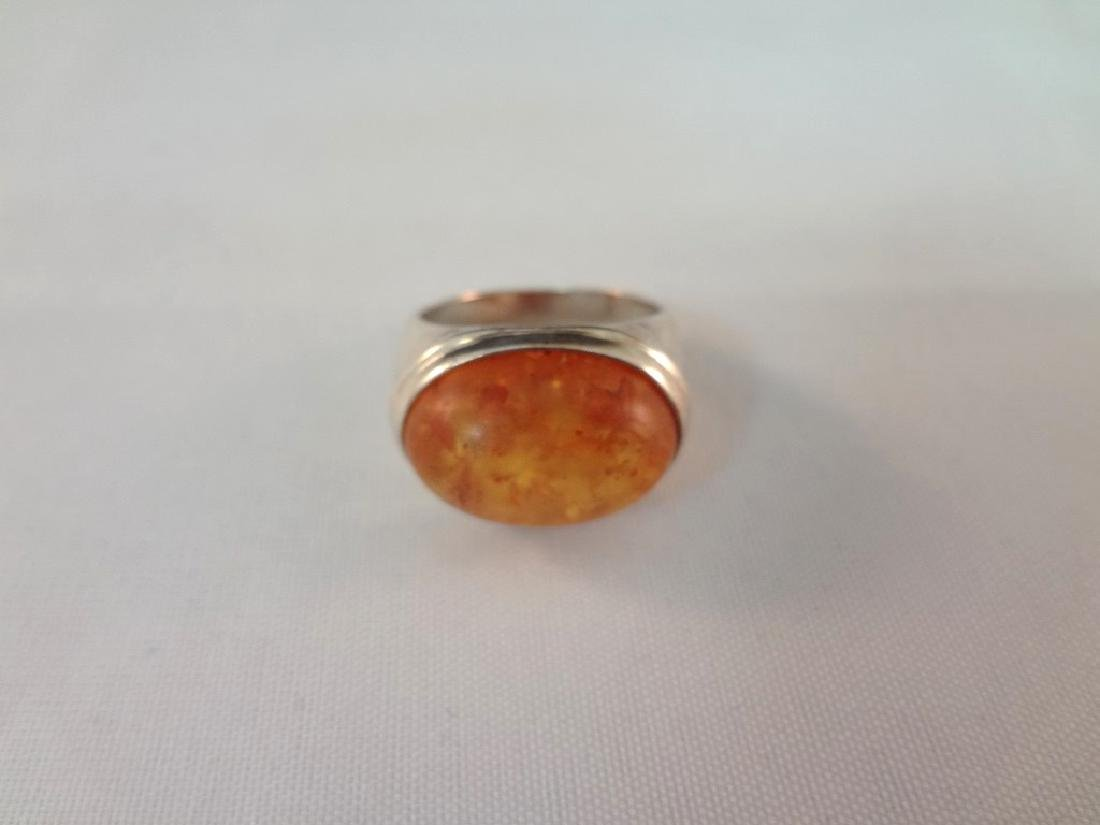 Sterling Silver and Amber Cabochon Jewelry Suite - 4