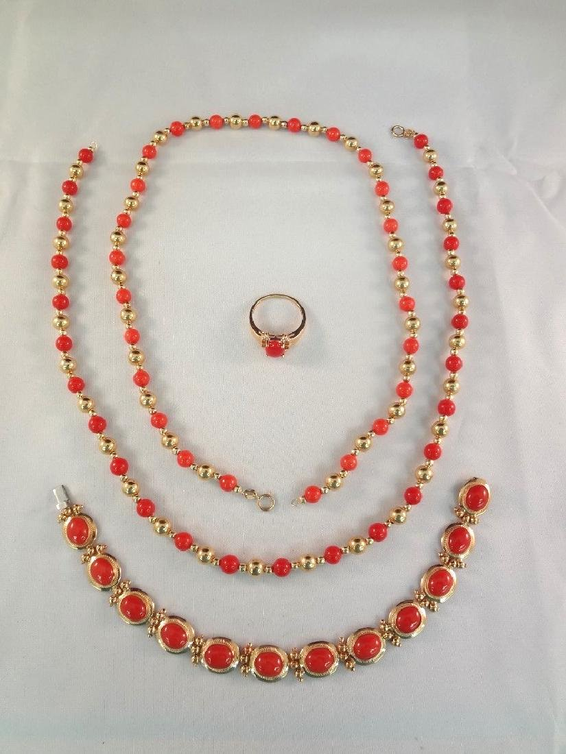 14k/18k Gold Coral Bracelet, Ring and Necklace Jewelry