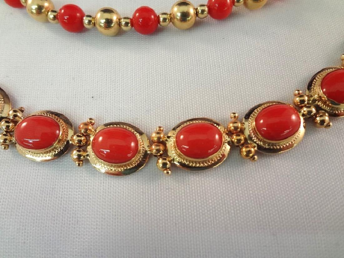 14k/18k Gold Coral Bracelet, Ring and Necklace Jewelry - 2