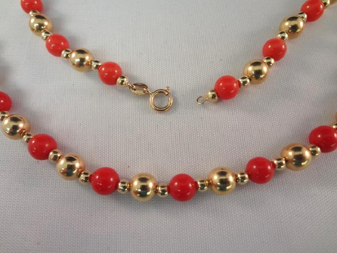 14k/18k Gold Coral Bracelet, Ring and Necklace Jewelry - 3