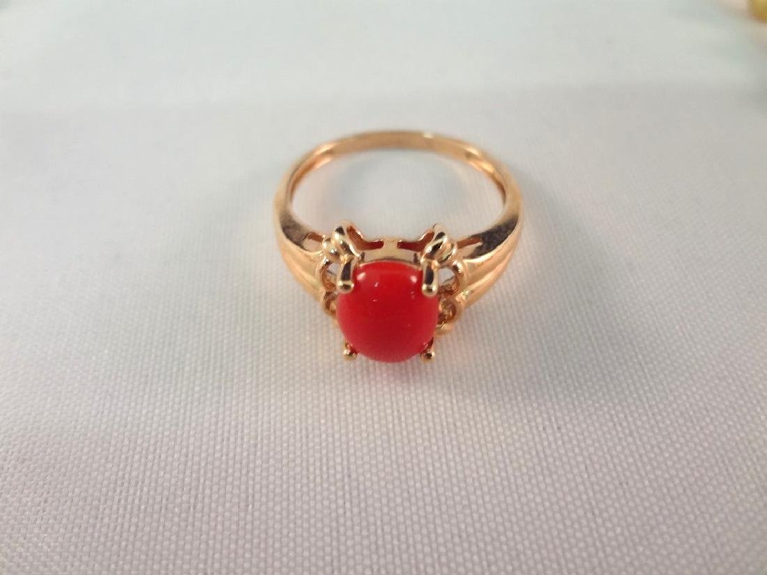 14k/18k Gold Coral Bracelet, Ring and Necklace Jewelry - 4