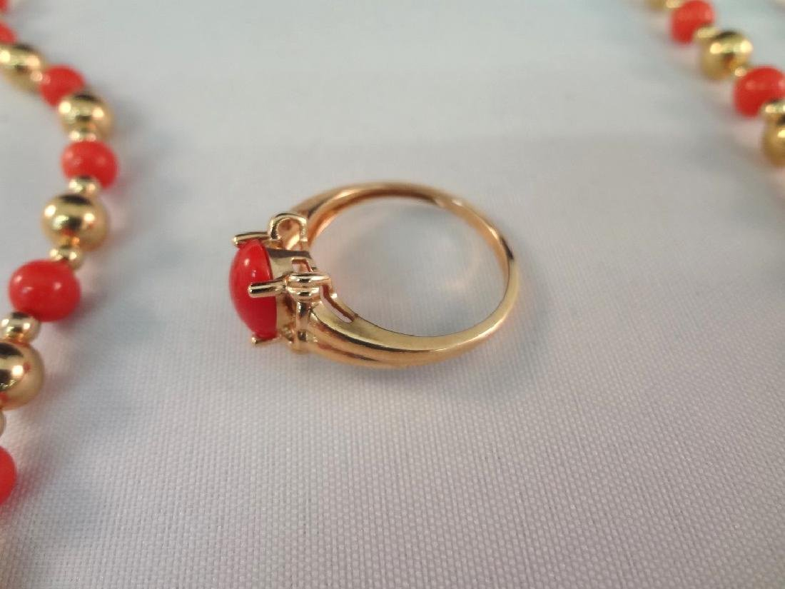 14k/18k Gold Coral Bracelet, Ring and Necklace Jewelry - 5