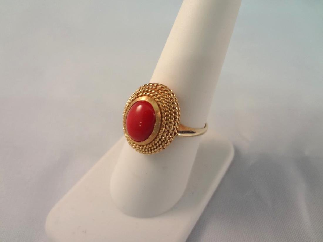 18k Gold and Coral Cabochon Ring Key Fret Pattern