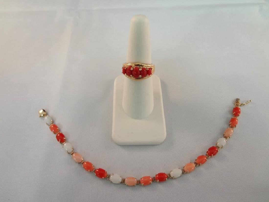 14k Gold and Coral Jewelry Bracelet and Ring Set