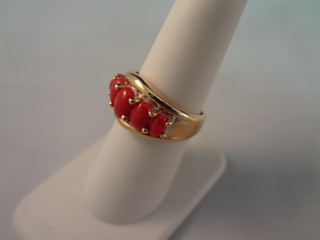 14k Gold and Coral Jewelry Bracelet and Ring Set - 2
