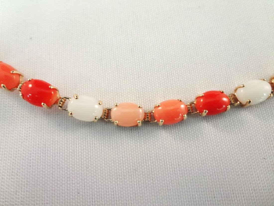 14k Gold and Coral Jewelry Bracelet and Ring Set - 3
