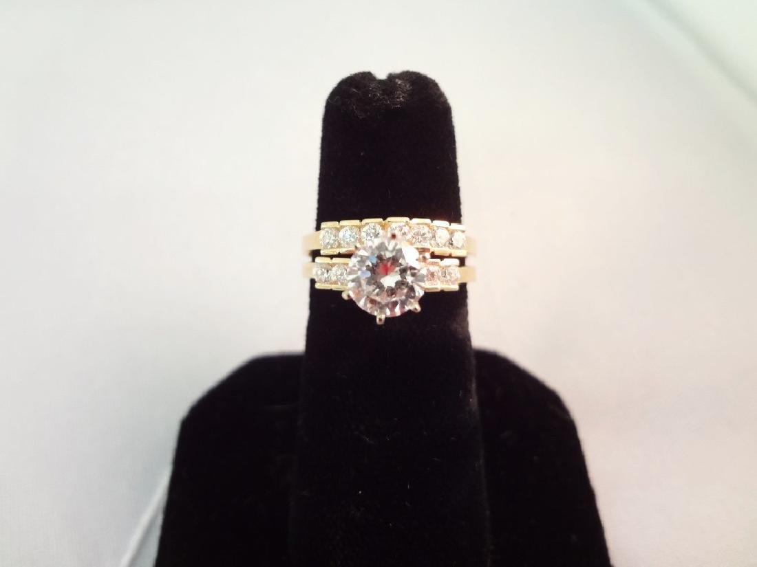 14K Gold Ring Wedding Set Cubic Zirconia Center Stone,