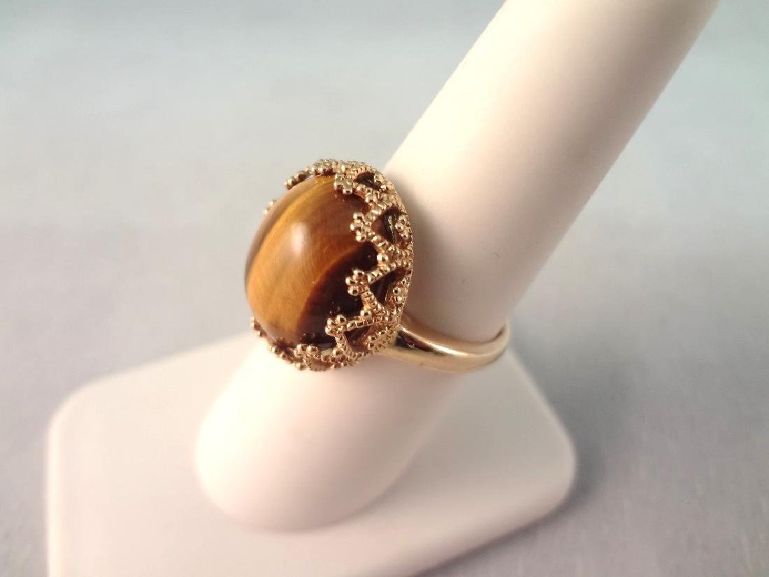14K Gold Ring with Oval Tiger Eye Cabochon Gold Wrapped - 2